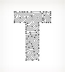 Letter E Circuit Board on White Background vector art illustration ...