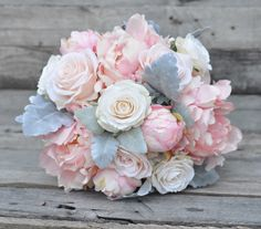 Blush Pink Bouquet Pink Peonies Ivory Roses by Hollysflowershoppe