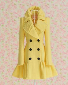 Yellow Elegant Turndown Collar Wool Coat is just yummy!