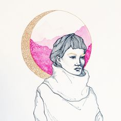 Productive little weekend #art #drawing #illustration #pen #ink #micron #watercolor #portrait #moon #gold #pink #mountains #vscocam