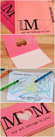 FREE Mother's Day card template! Just print, cut, color and fold! Such a fun art project for kids. There's one for Grandma's as well :)