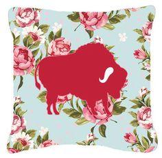 Buffalo Shabby Elegance Blue Roses Indoor/Outdoor Throw Pillow