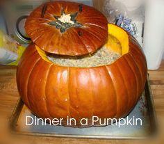 Cook dinner inside a pumpkin- great idea for Halloween or fall