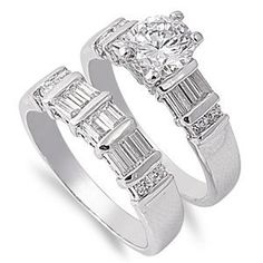Rhodium Plated Brass Wedding Ring Set with Round and Baguette Clear Cubic Zirconia - Face Height: 8mm - Sizes: 6-10 Ring - Rhodium. $30.95