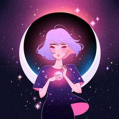 Time Falls Like Moonlight, by City Girl Anime Galaxy, Galaxy Art, Cartoon Kunst, Cartoon Art, Kunst Inspo, Art Inspo, Art And Illustration, Pretty Art, Cute Art