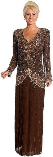 Brown/Silver Silk Chiffon Beaded Sequined Formal Evening Mother Of Bride Dress