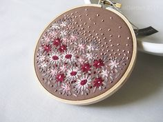 Items similar to Hand Embroidered Flower Season Hoop Art in 5 Inch Wooden Hoop - on Etsy Hand Embroidery Projects, Hand Embroidery Tutorial, Embroidery Flowers Pattern, French Knot Embroidery, Embroidery Hoop Art, Hand Embroidery Designs, Embroidery Techniques, Ribbon Embroidery, Embroidered Flowers
