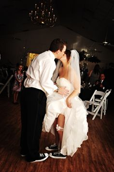 I'm going to be the bride in converse on my wedding day instead of heels! Wedding Kiss, Wedding Bells, Wedding Reception, Dream Wedding, When I Get Married, Getting Married, Dress With Converse, Converse Shoes, Wedding Converse