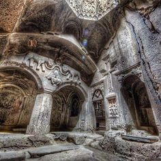 "Armenia Geghard Monastery.Geghard (Armenian: Գեղարդ, meaning ""spear"") is a medieval monastery in the Kotayk province of Armenia, being partially carved out of the adjacent mountain"