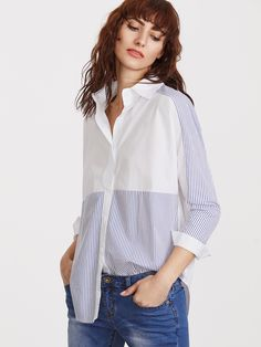 To find out about the Contrast Striped Curved Hem Shirt at SHEIN, part of our latest Blouses ready to shop online today! Winter Tops, Oversized Shirt, Shirt Jacket, Fashion Details, Blouse Designs, Women Wear, Fashion Outfits, Chic Chic, Merida