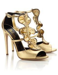 Gold Leather Etienne Sandals | Jerome C. Rousseau | Avenue32