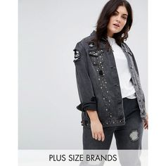 New Look Curve Stud Trophy Denim Jacket ($79) ❤ liked on Polyvore featuring outerwear, jackets, black, plus size, studded jean jacket, jean jackets, plus size jackets, pocket jacket and tall jackets