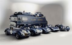 A collection of Ecurie Ecosse race cars, in their famous blue and white livery, will be offered for sale at auction in December. The team won Le Mans with its Jaguar D-types in 1956 and among its 68 victories in 10 seasons of racing. Vintage Sports Cars, Vintage Race Car, Vintage Auto, Automobile, Jaguar E Type, Jaguar Cars, Big Trucks, Courses, London