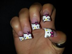 Hello kitty flare nails