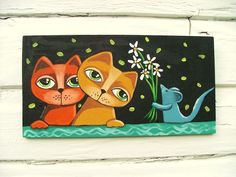 """Folk primitive Cat  painting original  art GOSHRIN #Outsider  """"Share The Love"""" Size: 5"""" X 9 1/2"""" Media: Acrylic Date: 2016 About This Piece: Sweet colorful cats with a friend Painted on wooden panel"""