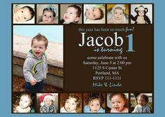 This last year has been so much fun... 1st Birthday Boy Invitation Photo Card