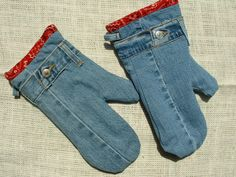 RECYCLED DENIM OVEN MITS -  Recycled denim oven mits.  Trimed with red bandana material.  Great gift idea! --- 1 ct