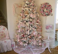 Pink Shabby Chic Christmas Tree Pictures, Photos, and Images for . Pink Christmas Decorations, Pink Christmas Tree, Shabby Chic Christmas, Beautiful Christmas Trees, Noel Christmas, Victorian Christmas, Vintage Christmas, Christmas Mantles, Christmas Ornaments