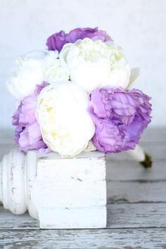 Silk Bride Bouquet Purple Peony Flowers Peonies Lace Shabby Chic Wedding. $79.99, via Etsy.