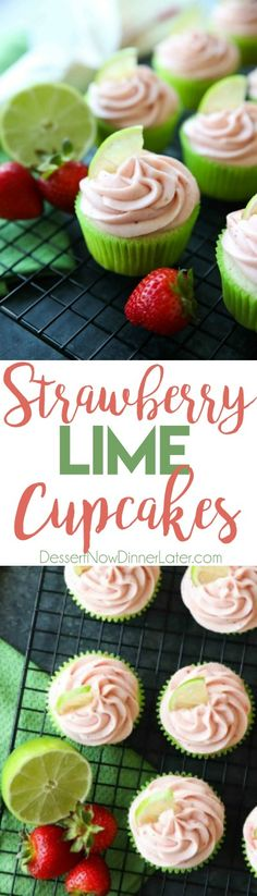 Strawberry Lime Cupcakes are perfect for summer, with a tangy lime cupcake base and sweet strawberry frosting they are sure to be loved by all. A family-friendly, non-alcoholic alternative to strawberry margarita cupcakes!