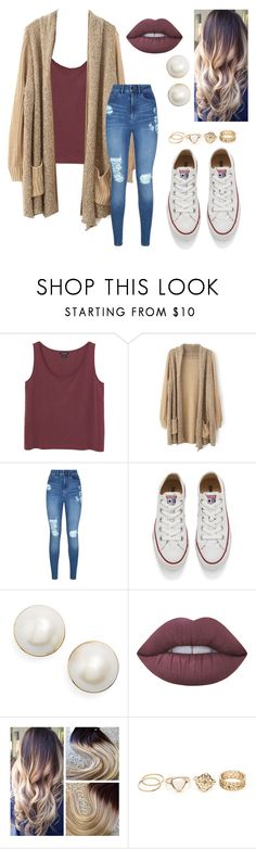 """""""Untitled #34"""" by rebekahmm ❤ liked on Polyvore featuring Monki, Lipsy, Converse, Kate Spade and Lime Crime"""