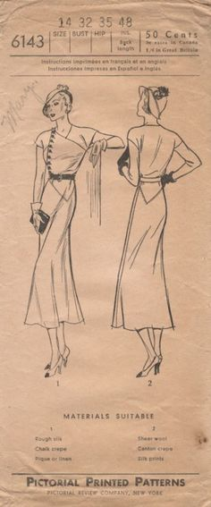 Pictorial Printed Patterns 6143 adapted from 1932 Vionnet dress