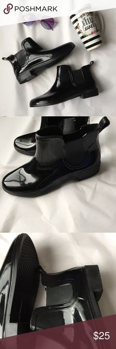 Preppy Ankle Rain boots! NWOT Black Glossy Ankle Rain Boots! Pull on style! Size 6. New without tags! 1 inch heel. So cute and fun for spring! Boutique Shoes Winter & Rain Boots