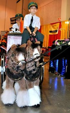 These two standard poodles were transformed into Clydesdales – and pulled a wagon for their skit.  (Meredith Frost/ABC News)