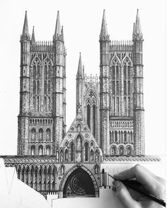 """Who: Minty Sainsbury What: """"Lincoln cathedral."""" An incomplete pencil interpretation illustration. Why: Very high attention to detail and consists of lots of different shapes and patterns. Architecture Antique, Architecture Drawings, Architecture Details, Building Drawing, Building Sketch, Lincoln Cathedral, Cathedral Church, Pencil Drawings, Art Drawings"""
