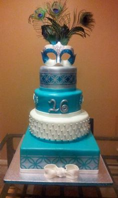 masquerade+cakes+designs | Pin Sweet 16 Masquerade Ball Cake — Birthday Photos Cake on ...