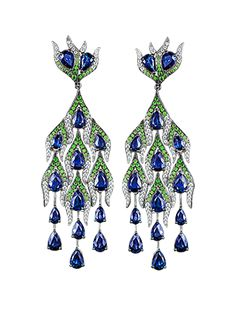 Grand Pheasants Earrings  White Gold with Sapphires, Tsavorites and White Diamonds.