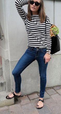 Denim + Stripes = Classic Combo > Capsule Wardrobe Inspiration