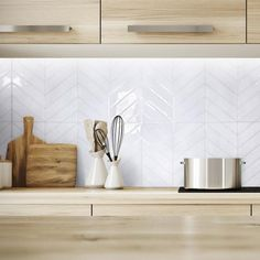 smart tiles Blok Chevron in W x in H White Peel and Stick Self-Adhesive Mosaic Wall Tile Backsplash - The Home Depot Wallpaper Backsplash Kitchen, Smart Tiles Backsplash, Peel Stick Backsplash, Kitchen Mosaic, White Kitchen Backsplash, Backsplash Design, Kitchen Paint, Stick On Tiles, Peel And Stick Tile
