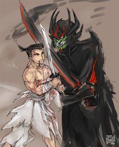 Samurai Jack vs aku sketch by bulletproofturtleman on DeviantArt