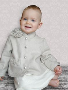 COCO Petite Jacket in Princess Style, in Creme and Silver Wool