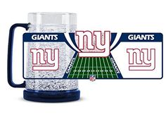 """New York Giants 16oz Crystal Freezer Mug  https://allstarsportsfan.com/product/new-york-giants-16oz-crystal-freezer-mug/  16oz mug combines state of the art refreezability with team colors and graphics! Eliminates the need for ice as the technology keeps drinks """"crushed ice"""" cold for hours without the watered down affect of ice! Place in freezer one hour or more prior to use, when frozen crystals will turn a frosty white color."""