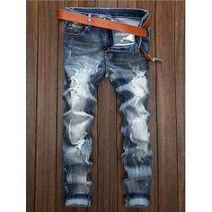 Zipper Fly Straight Leg Holes and Cat's Whisker Design Jeans