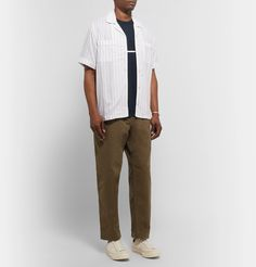 Todd Snyder Striped Cotton-jersey T-shirt In Blue Saturdays Nyc, Todd Snyder, Mr Porter, Converse Sneakers, Midnight Blue, Normcore, Mens Fashion, T Shirt, How To Wear