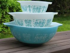 Turquoise Butterprint Cinderella Bowls received the middle one. 15 dollars. Gift from my parents.