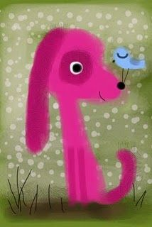 Pink pup and bird.  Terry Runyan via Brushes app on iPhone.