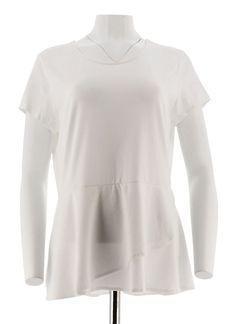 28fe79eb09d Isaac Mizrahi Short Sleeve Peplum Flounce Knit Top Bright White 1X NEW  A290866  fashion