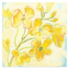 Yellow Flower and Blue Canvas Wall Art