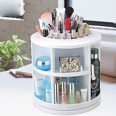 360 ° Rotating Cosmetics Storage Stand Box Makeup Brush Pot Cosmetic Organizer(3 Selectable Colors) - USD $ 33.31