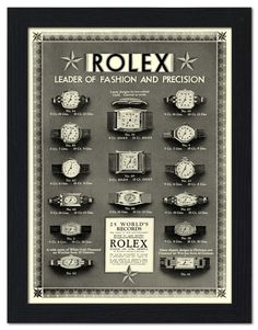 AP-FRAME-1155 - Rolex Watches, Vintage Advertisement 1920s - Framed Print 32x42cm Black
