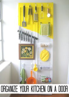 Organize kitchen on door or place backing wire rack long ways to hook things and hang things on cabinet door. Use magnet strip inside cabinet door to store misc metal objects like knives etc.
