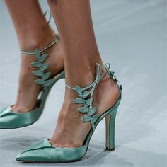 #FSJshoes - #FSJ Shoes Turquoise Heels Ankle Strap Pointy Toe Satin Sandals for Prom - AdoreWe.com #anklestrapsheelsprom