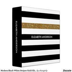 Modern Black White Stripes Gold Glitter and Name 3 Ring Binder