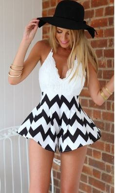 Lace Striped Playsuit for Girls