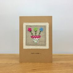 Fabric Applique Greeting Card ~ Handmade ~ Just A Note ~ Flower Pot by StickandPasteCards on Etsy Etsy Uk, Blank Cards, Me On A Map, Greeting Cards Handmade, Flower Pots, I Card, Applique, Notes, Fabric