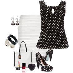 Striped White Pencil Skirt & Black Polka Dot Blouse by high-uintas on Polyvore